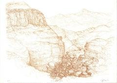 1982 Raffi Kaiser 'Mountain Pass' Brown,Black & White Lithograph