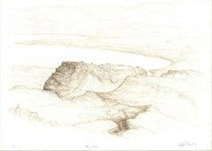 1982 Raffi Kaiser 'Mountains and River' Black & White,Brown Lithograph