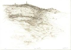 1982 Raffi Kaiser 'Village' Black & White,Brown Lithograph