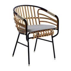 Raffia Black Rattan Chair with Cushion by Lucidi Pevere