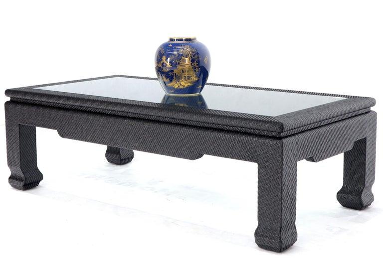 Raffia Cloth Covered Rectangular Glass Top Coffee Table ...