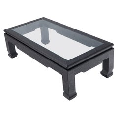 Raffia Cloth Covered Rectangular Glass Top Coffee Table Black