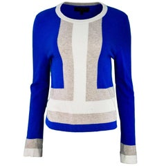 Rag & Bone Blue, Tan & Beige Wool Color-Block Sweater Sz L