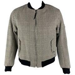 RAG & BONE 44 Black & White Woven Wool / Cotton Zip Up Jacket