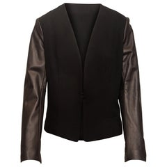 Rag & Bone Black Leather Sleeve Blazer