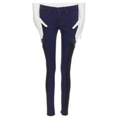 "RAG & BONE JEAN indigo blue cotton leather insert colorblocked skinny jeans 25"""