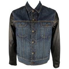 RAG & BONE L Indigo Wash Denim Leather Trucker Jacket