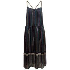 Rag & Bone Navy & Multicolor Silk Striped Dress