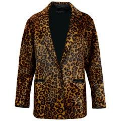 Rag & Bone Sigrid Leopard Print Calf Hair Coat sz Small rt $1,695