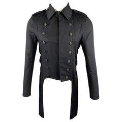 RAG & BONE Size 38 Black Cotton Epaullettes Military Tailcoat