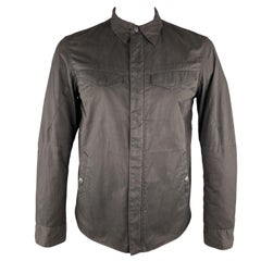RAG & BONE Size M Black Solid Cotton / Polyester Zip & Snaps Jacket