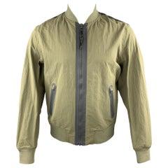 RAG & BONE Size M Olive Nylon Grey Zip Windbreaker Bomber Jacket