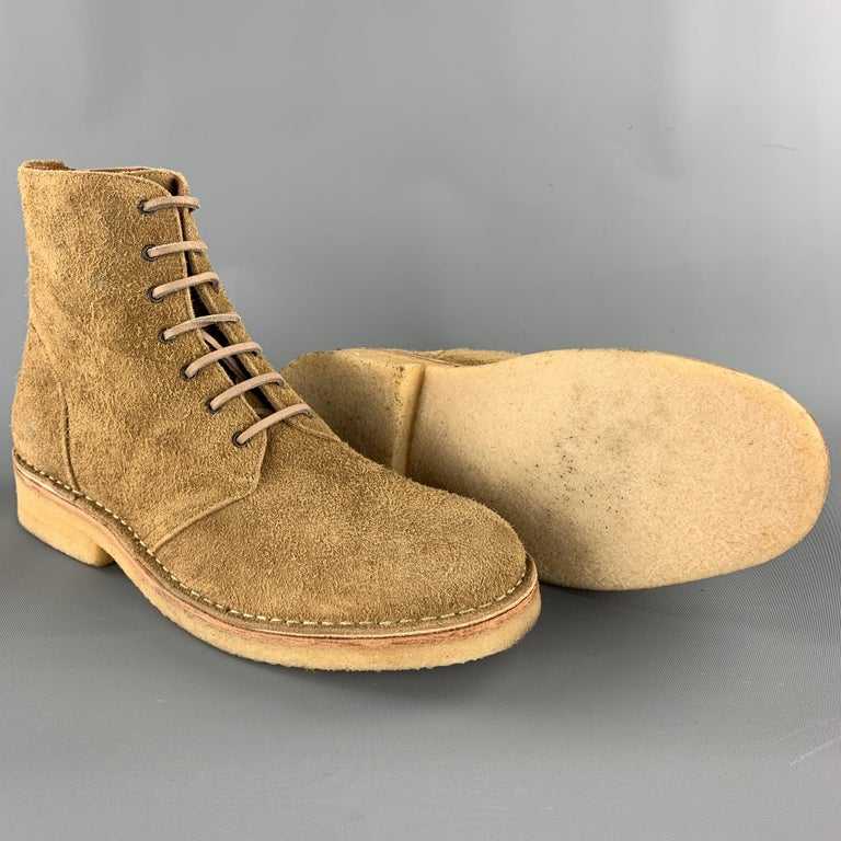 RAG & BONE Size US 10 / EU 43 Tan Textured Military Lace Up Men's Boots In Good Condition For Sale In San Francisco, CA