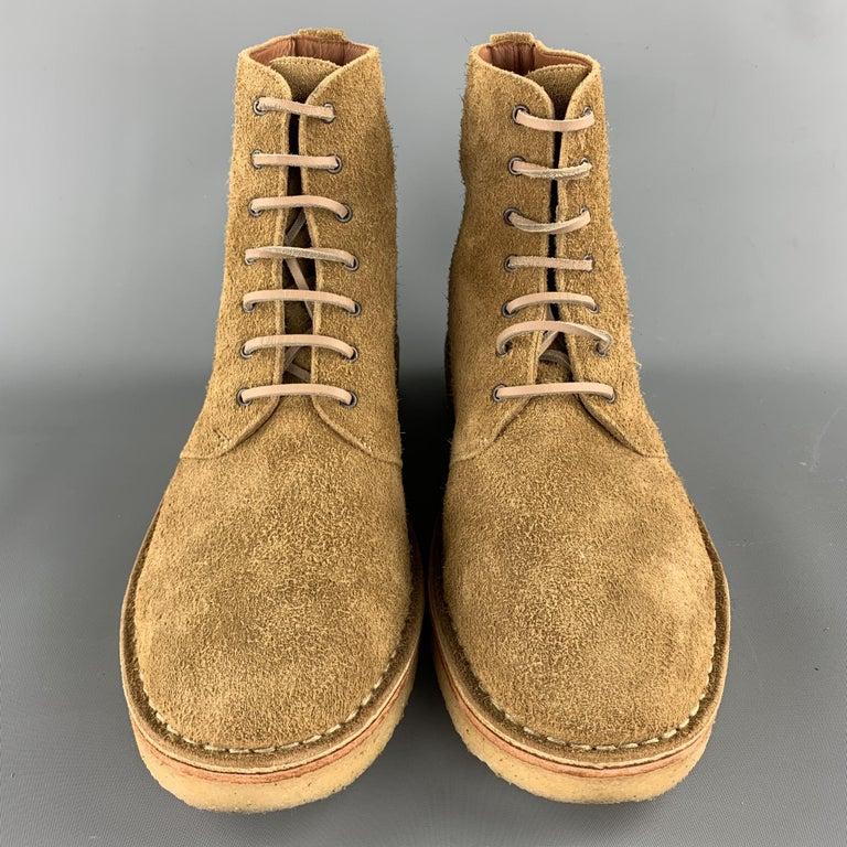 RAG & BONE Size US 10 / EU 43 Tan Textured Military Lace Up Men's Boots For Sale 1