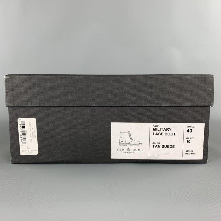 RAG & BONE Size US 10 / EU 43 Tan Textured Military Lace Up Men's Boots For Sale 5