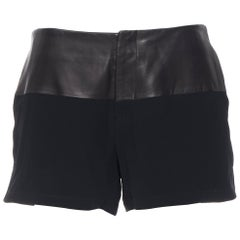 RAG & BONES black lamb leather waist viscose concealed zip shorts pants US4