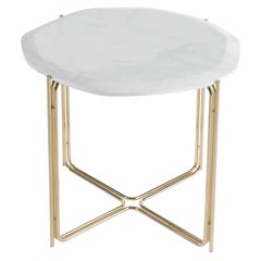 Ragali Side Table with Marble Top and Metal Base by Roberto Cavalli