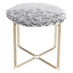 Ragali.2 Side Table with Marble Top and Metal Base by Roberto Cavalli