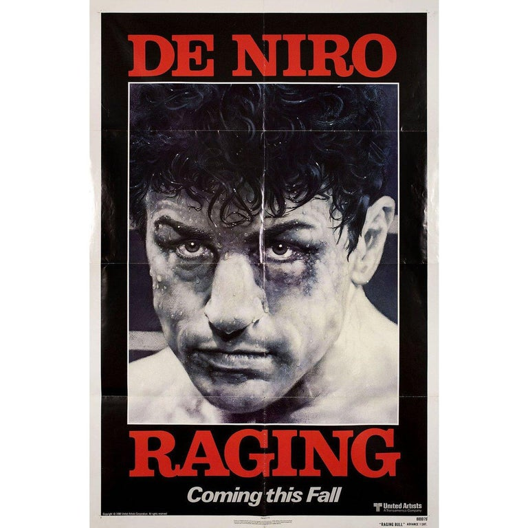 Original 1980 US one sheet poster by Kunio Hagio for the film Raging Bull directed by Martin Scorsese with Robert De Niro / Cathy Moriarty / Joe Pesci / Frank Vincent. Very good-fine condition, folded. Many original posters were issued folded or