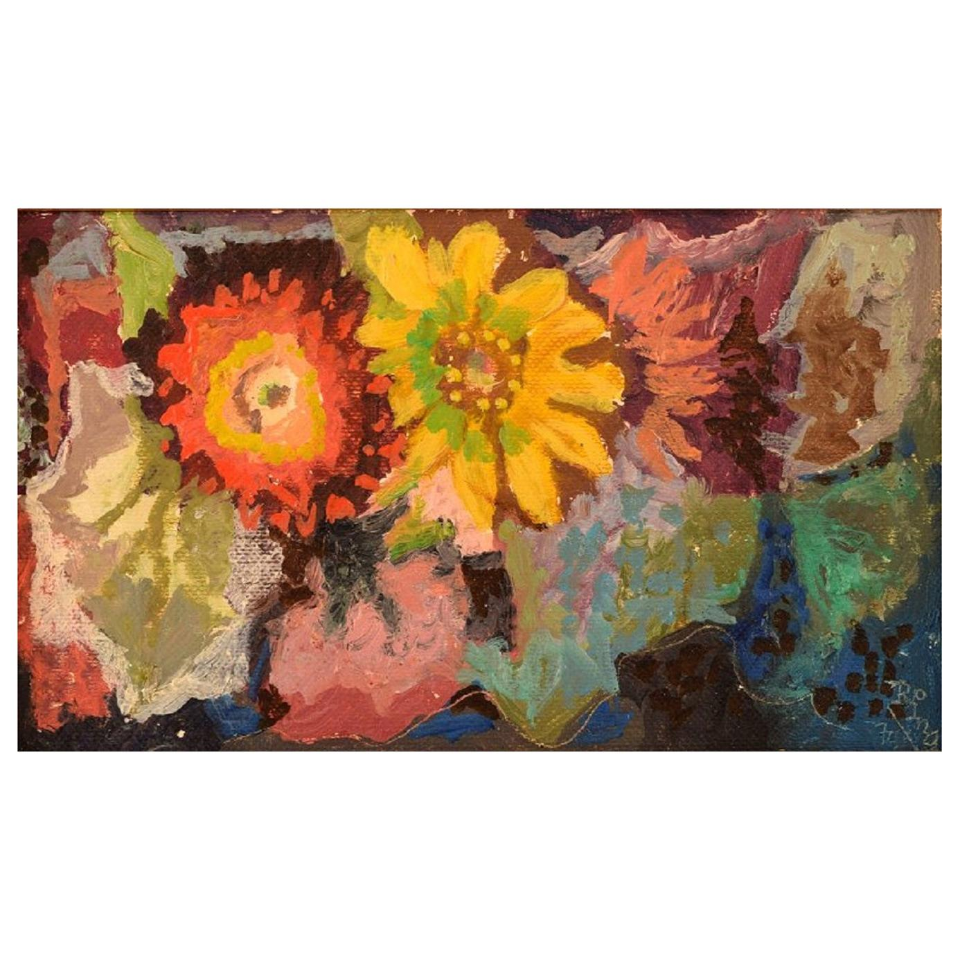 Ragnar Ring, Swedish Painter, Oil on Board, Arrangement with Flowers, Dated 1970