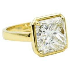 Rahaminov 9.17 Carat Radiant Cut Diamond Ring with 18 Karat Bezel Setting