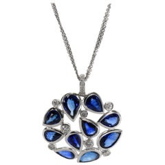 Rahaminov Sapphire and Diamond Necklace in 18 Karat White Gold 9.53 Carat