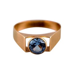 Rahlens Goldsmith, Sweden, Modernist 18 Carat Gold Ring with Semi Precious Stone