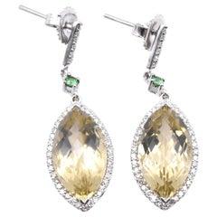 Raico 18 Karat White Gold Lemon Quartz, Diamond, and Emerald Drop Earrings