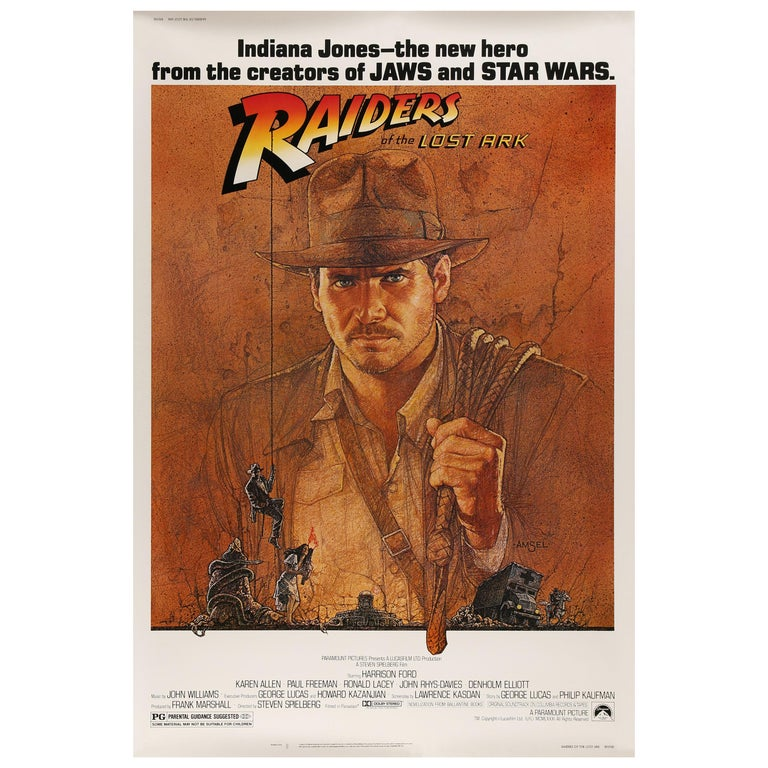 'Raiders of the Lost Ark' Original US Movie Poster by Richard Amsel, 1981 For Sale