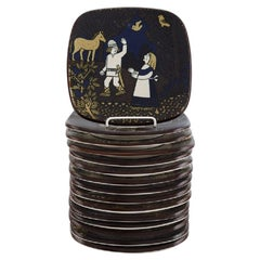 Raija Uosikkinen for Arabia, Set of 15 Kalevala Year Plates in Glazed Ceramics