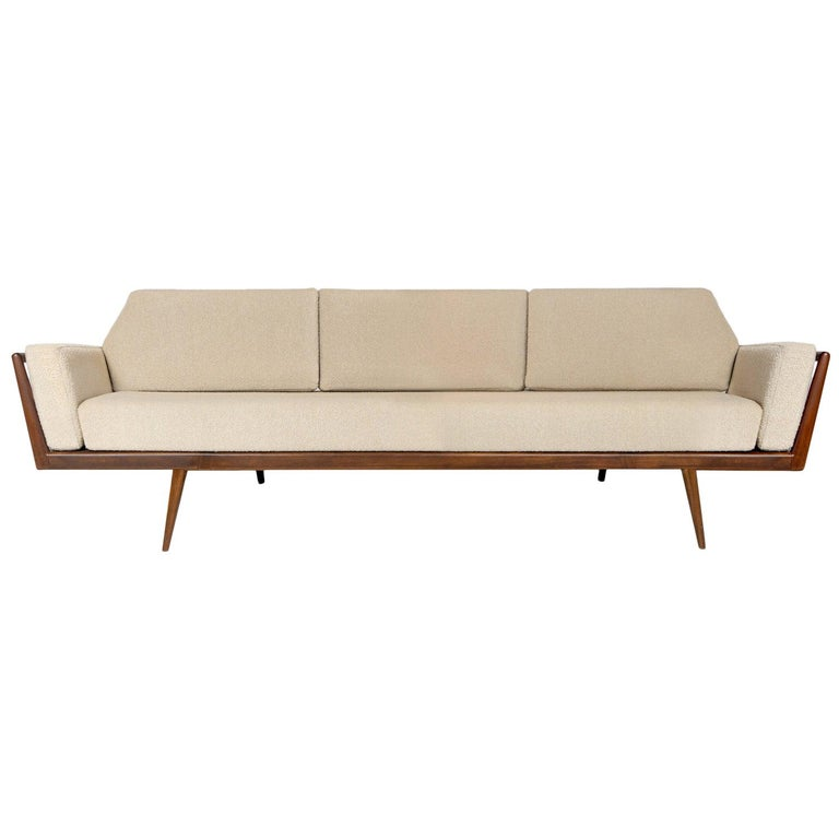 Rail Back Sofa with Cream Cushions by Mel Smilow For Sale