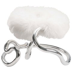 Railing Upholstered Stool Side Chair Stainless Steel with White Goat Fur