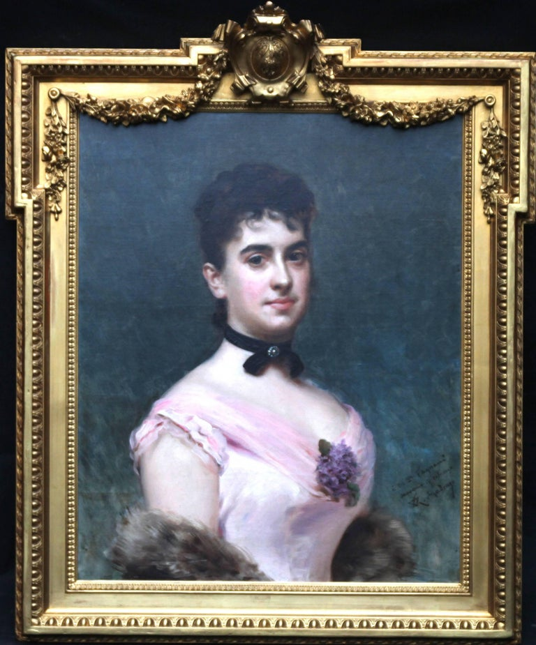 Painted by Raimundo de Madrazo y Garreta, this  fine oil on canvas dates to 1890 and depicts a portrait of a beautiful woman.  She is Nina Fagnani, the French American socialite and minature portrait artist, who is wearing a lowcut dress with a