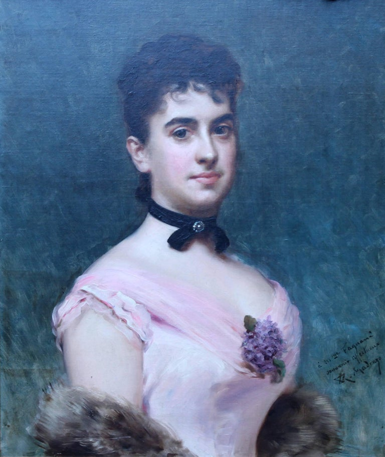 Portrait of Nina Fagnani French American Socialite -  Spanish 19thC oil painting For Sale 1