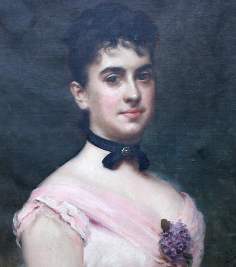 Portrait of Nina Fagnani French American Socialite -  Spanish 19thC oil painting For Sale 3
