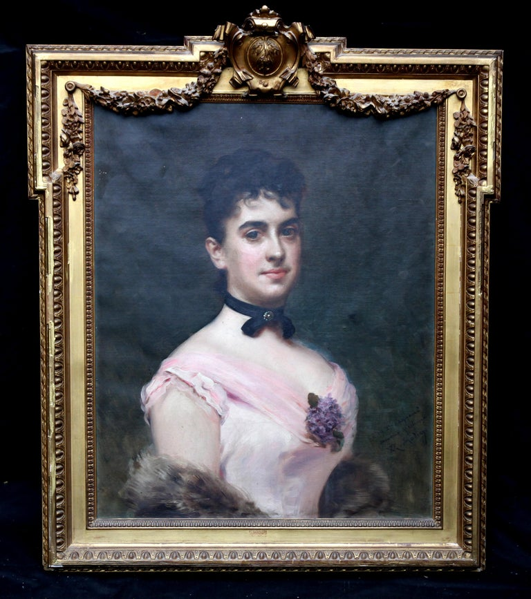 Portrait of Nina Fagnani French American Socialite -  Spanish 19thC oil painting For Sale 4