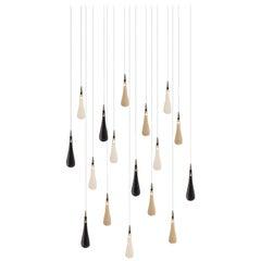 Rain Drop 17, Blown Glass Pendant Dining Room Chandelier by Shakuff