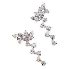 White Gold 18 K, Diamond Pear, Unique Art, Wedding Style, Rain Earrings