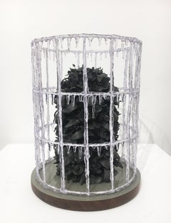 Noir Buisson by Rain Harris, Hand Sculpted Black Clay with Resin and Wood Base