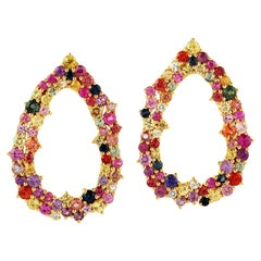 Rainbow 18 Karat Gold Multi Sapphire Negative Space Earrings