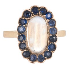 Rainbow Blue Moonstone Sapphire Ring 14 Karat Gold Oval Cocktail Estate Fine
