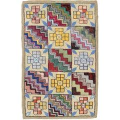 Rainbow Checkerboard Vintage American Hooked Rug with Geometric Cross Designs