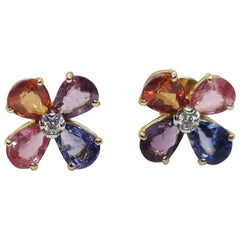 Rainbow Color Sapphire with Diamond Earrings Set in 18 Karat Rose Gold