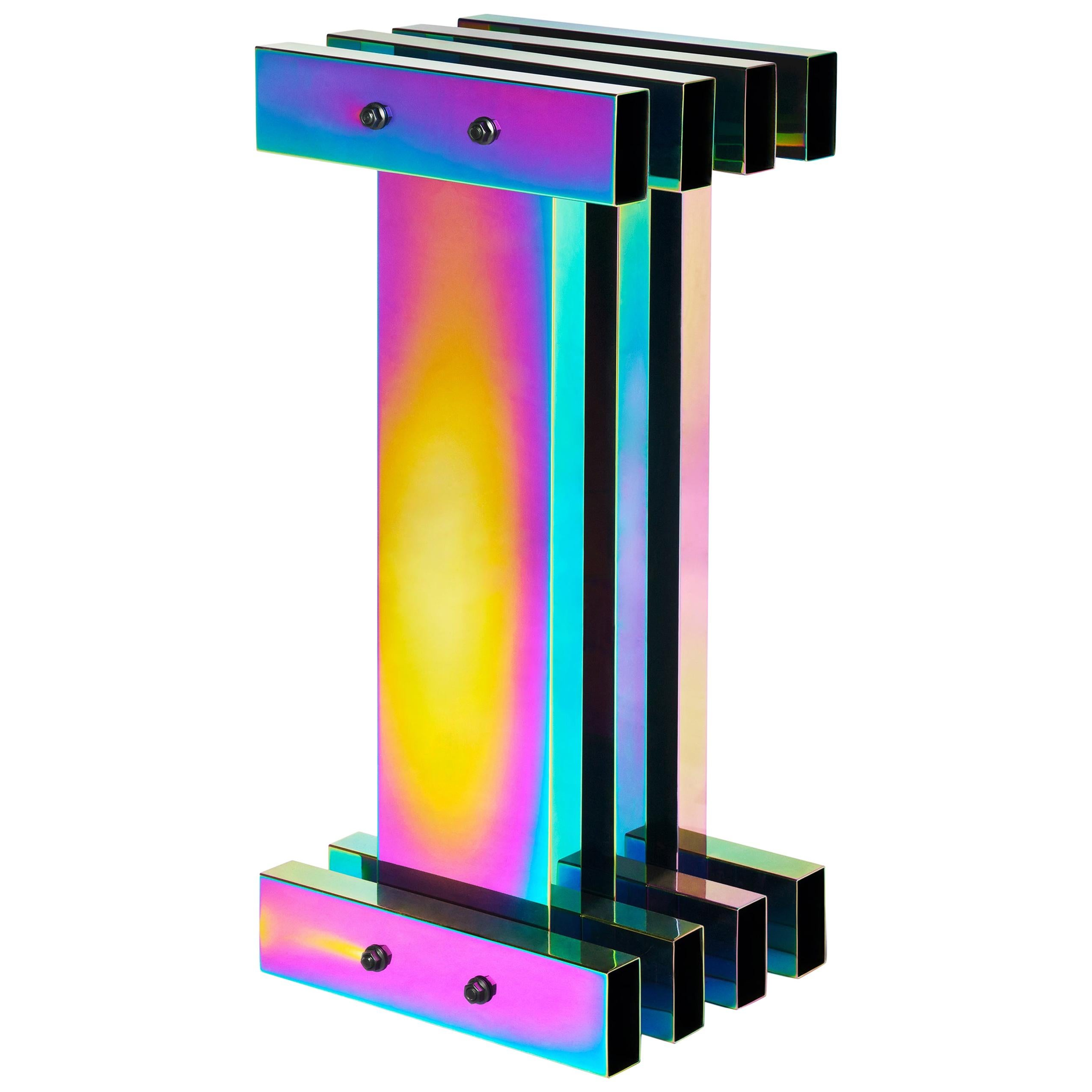 Rainbow Color Stainless Steel Hot Pedestal by Studio Buzao