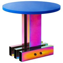 Rainbow Color Stainless Steel Hot Round Side Table by Studio Buzao