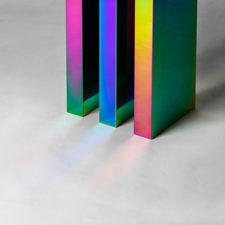 Rainbow Color Stainless Steel Hot Side Table by Studio Buzao For Sale 5