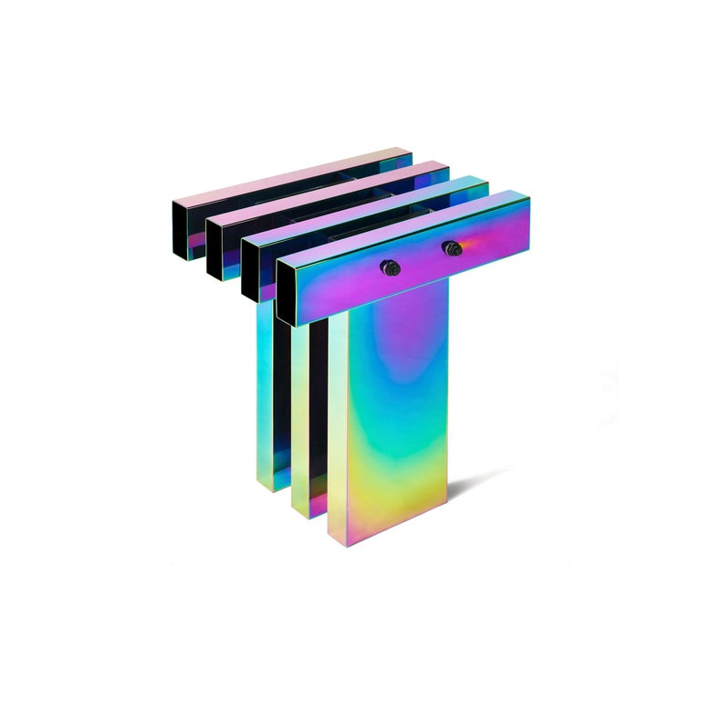 Rainbow Color Stainless Steel Hot Side Table by Studio Buzao In New Condition For Sale In Beverly Hills, CA