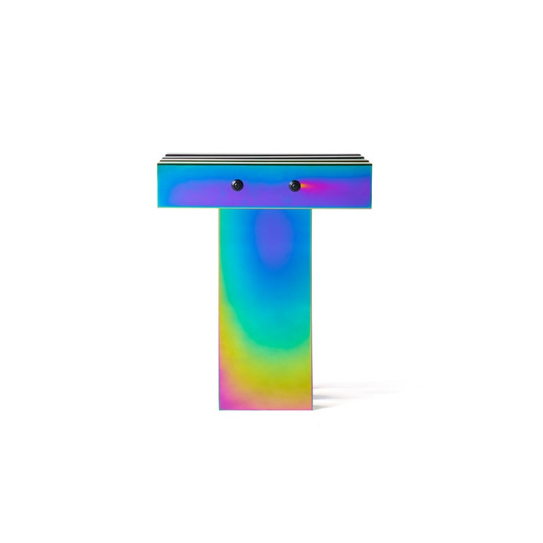 Contemporary Rainbow Color Stainless Steel Hot Side Table by Studio Buzao For Sale