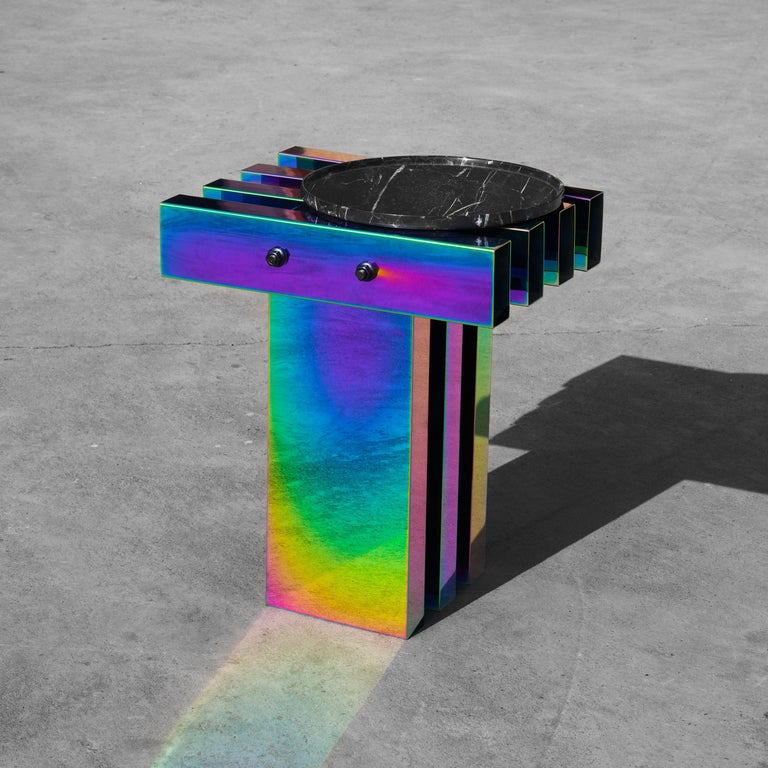 Rainbow Color Stainless Steel Hot Side Table by Studio Buzao For Sale 2