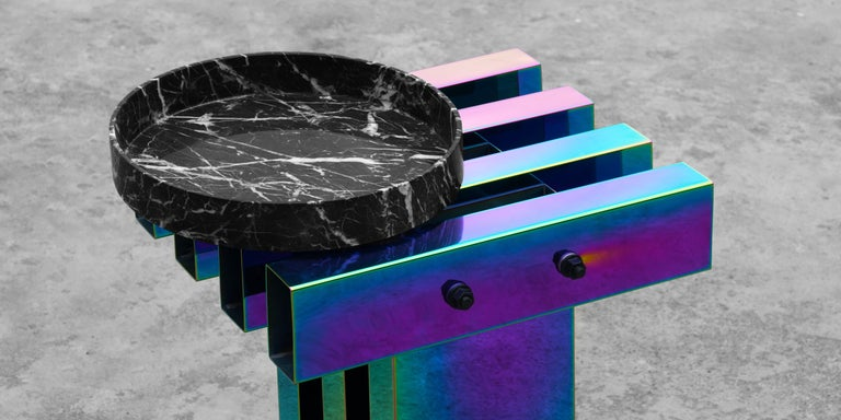Rainbow Color Stainless Steel Hot Side Table by Studio Buzao For Sale 3